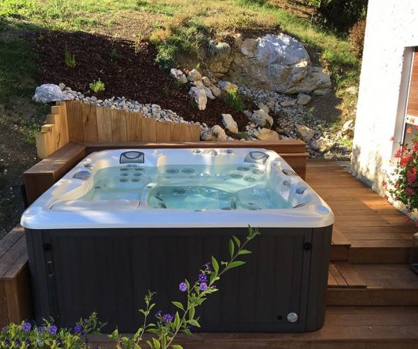 Sundance Hot Tub Installation Wood Deck Jackson Hole
