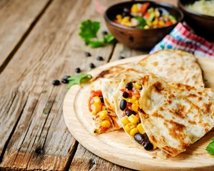 Vegetarian quesadillas on a plate.
